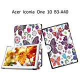 Acer Iconia One 10 B3-A40 Tablet Case,Acer Iconia One 10 B3-A40 Shell Case,Folio Folding Cover Flip Case for Acer Iconia One 10 B3-A40 Flip Case,Colorful butterfly