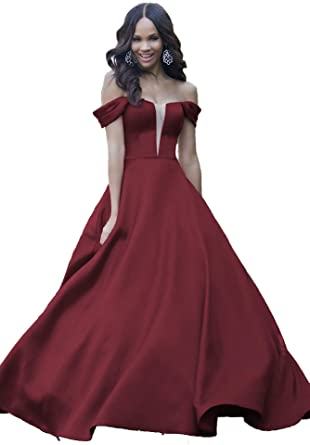 fbd6df96f81 Lover Kiss Sexy Off Shoulder V-Neck Satin Prom Dresses Long with Cap  Sleeves Formal
