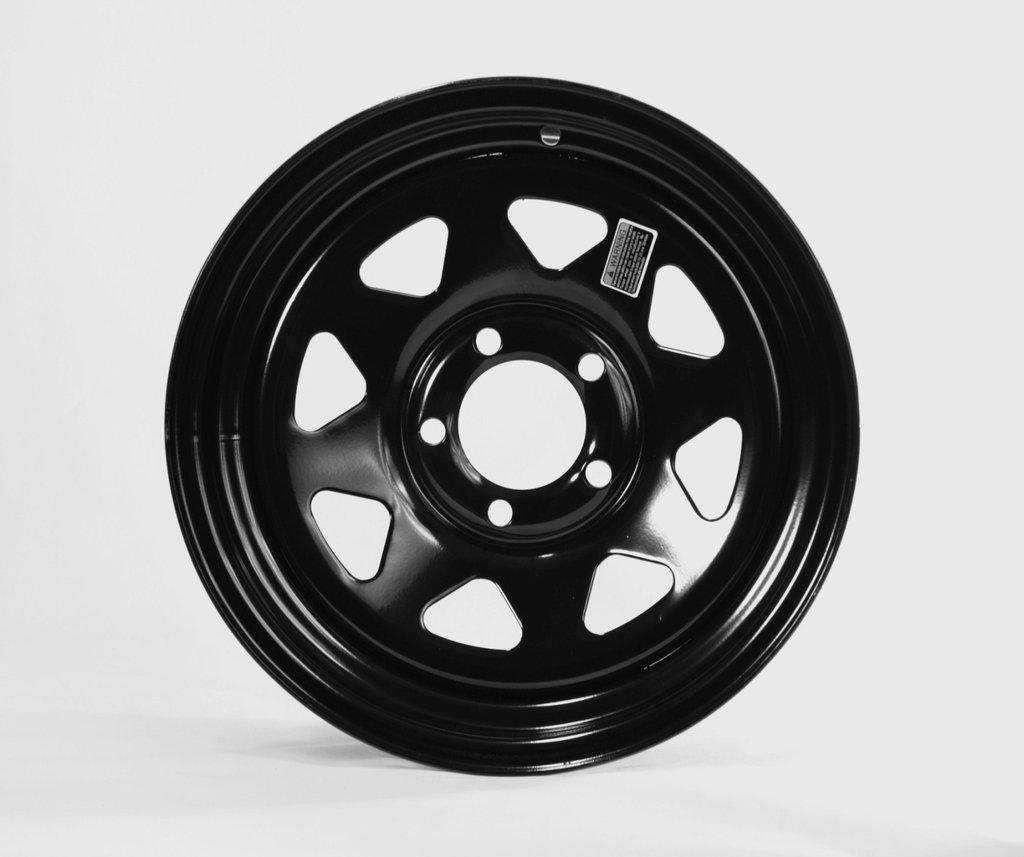 15x6 5 Lug Hole Bolt Wheel Black Spoke Design x 6 in Trailer Rim Wheel 15 in