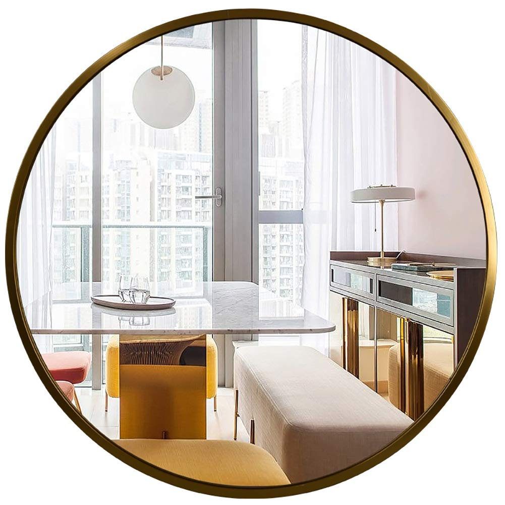 GUOWEI Bathroom Mirror Wall Mount Metal Frame Circular Makeup Decoration Simple, 3 Sizes, 3 Colors (Color : Gold, Size : Diameter -60 cm)
