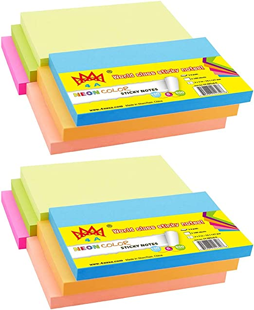 4A Sticky Notes,Neon Assorted,4 x 6 Inches,100 Sheets//Pad,6 Pads//Pack,4A 406x6-N