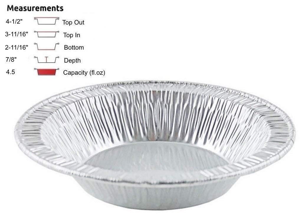 Pactogo 4 1/2'' Foil Tart Pan 7/8'' Deep - Mini Baking Pie Tins (Pack of 500) by PACTOGO (Image #1)