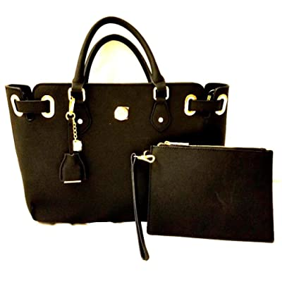 JOY Rich Leather Saffiano Satchel and Clutch with RFID Protection - Black
