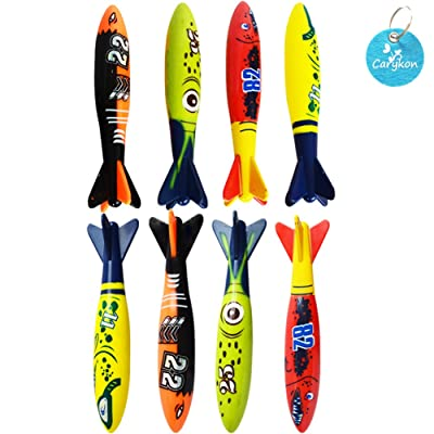 Carykon 8 Pcs Dive Toy Underwater Swimming Pool Toy Gliding Shark Throwing Torpedo: Toys & Games