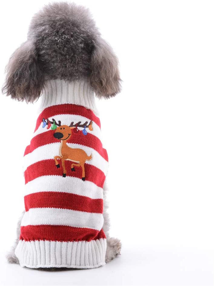 S, Red Whire Stripe Snow ABRRLO Dog Sweaters Christmas Outfits Costume Puppy Cat Winter Warm Knitwear Hoodies Sweatshirt Pet Clothes