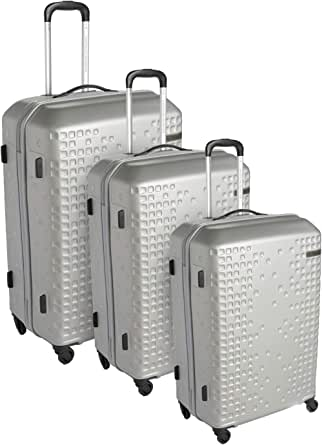 American Tourister Cruze Set of 3, Hard Luggage Trolley Bags With Number Lock, 55+65+79cm, Silver