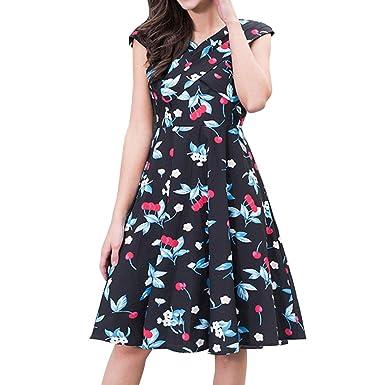 Alixyz Women Dress Cherry Print Sleeveless Print Prom Party Evening Swing Dress (S, Blue
