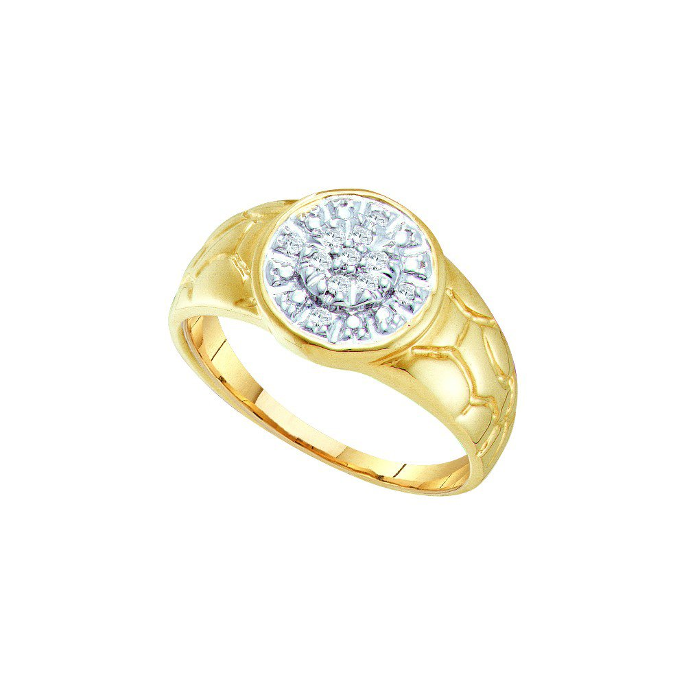 10kt Yellow Gold Mens Round Diamond Cluster Nugget Ring 1/8 Cttw (I2-I3 clarity; J-K color)