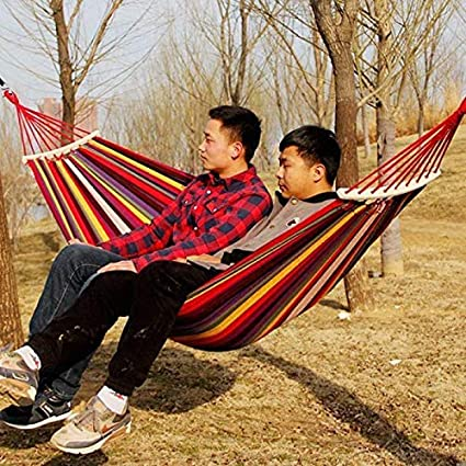 Harivar Mart Portable Wooden Camping Swing Hammock Beach Bed with Hardwood Spreader Bar Tree Hanging Suspended Outdoor Indoor Bed