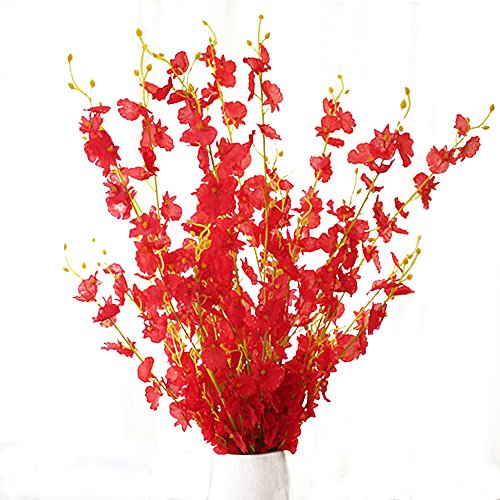 MISSWARM 10 Pieces 37.7 of Dancing Lady Orchid Illusion,Wedding Home Party Decor Butterfly Artificial Flower,Flower Arrangement(Red)