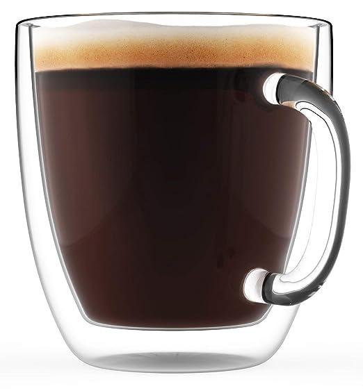 Tazas de café grande con doble pared aislante, 470 ml – Juego de 2 tazas para café aptas para lavavajillas y microondas – Jarras de café de exclusivo ...