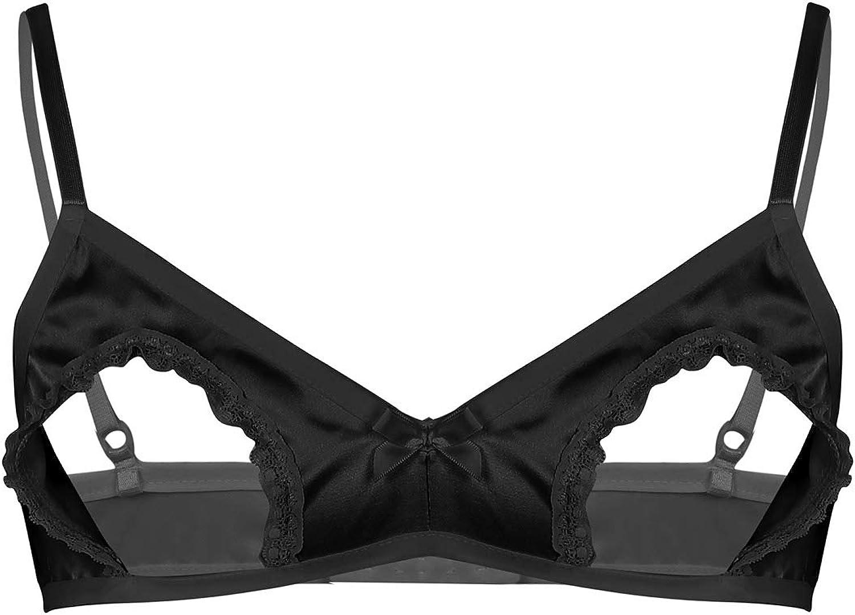 Homme Sissy Lingerie Bowknots soutien-gorge Soft satin à volants froncée élastique Bralette hauts
