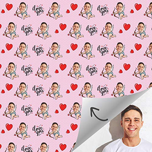Personalized Gift Wrapping Paper Roll with Face Printed Unique Love Graduation Custom Photo Gift Ideal for Birthday, Holiday, Wedding, Baby Shower Gift Wrap 24 X 60 inch - 1 Roll White