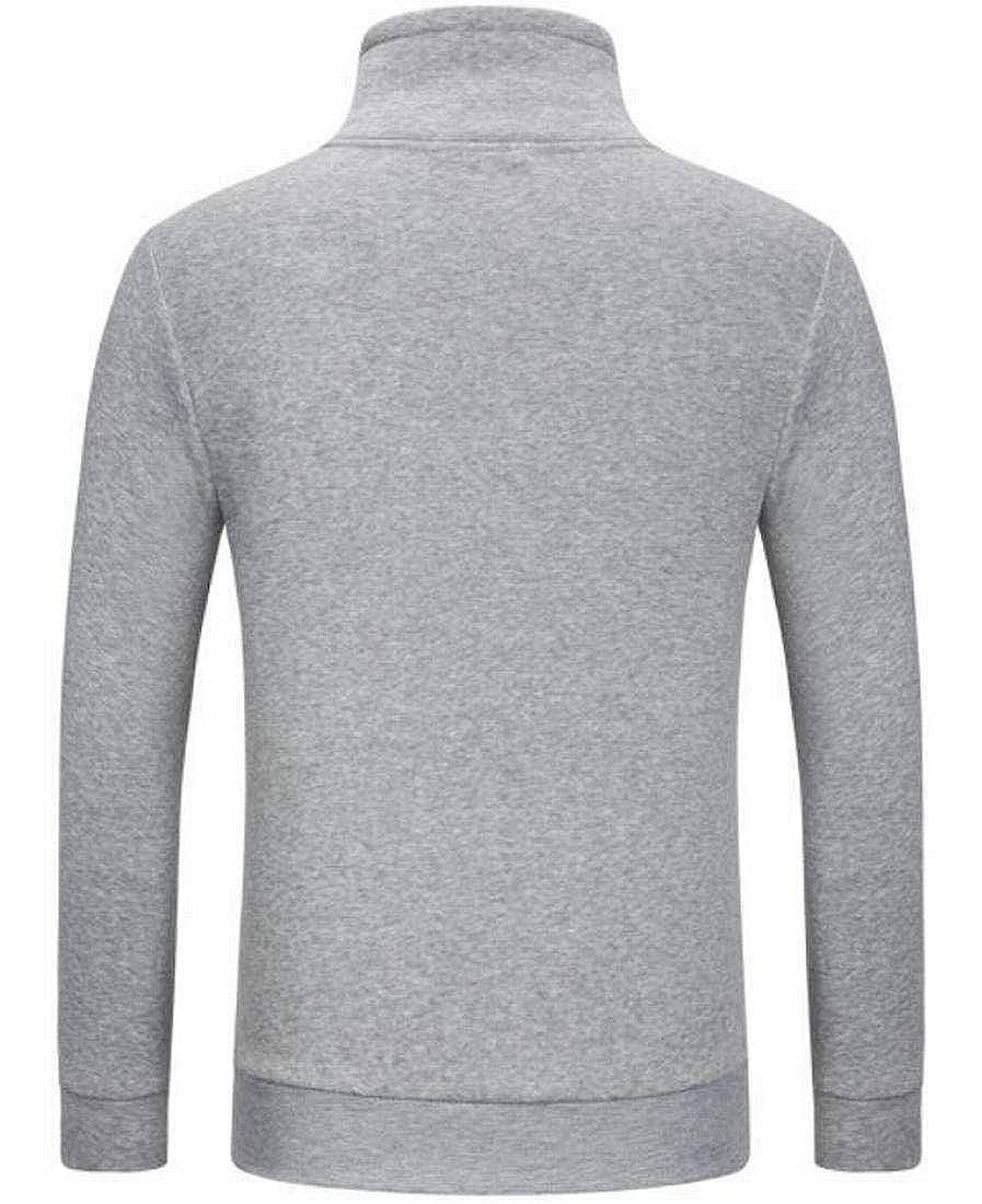Nanquan Men Slim Fit Solid Drawstring Stand Up Collar Pockets Sweatshirts