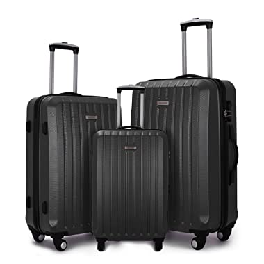 Fochier 3 Piece Luggage Sets Hard shell Lightweight Suitcase with Spinner Wheels