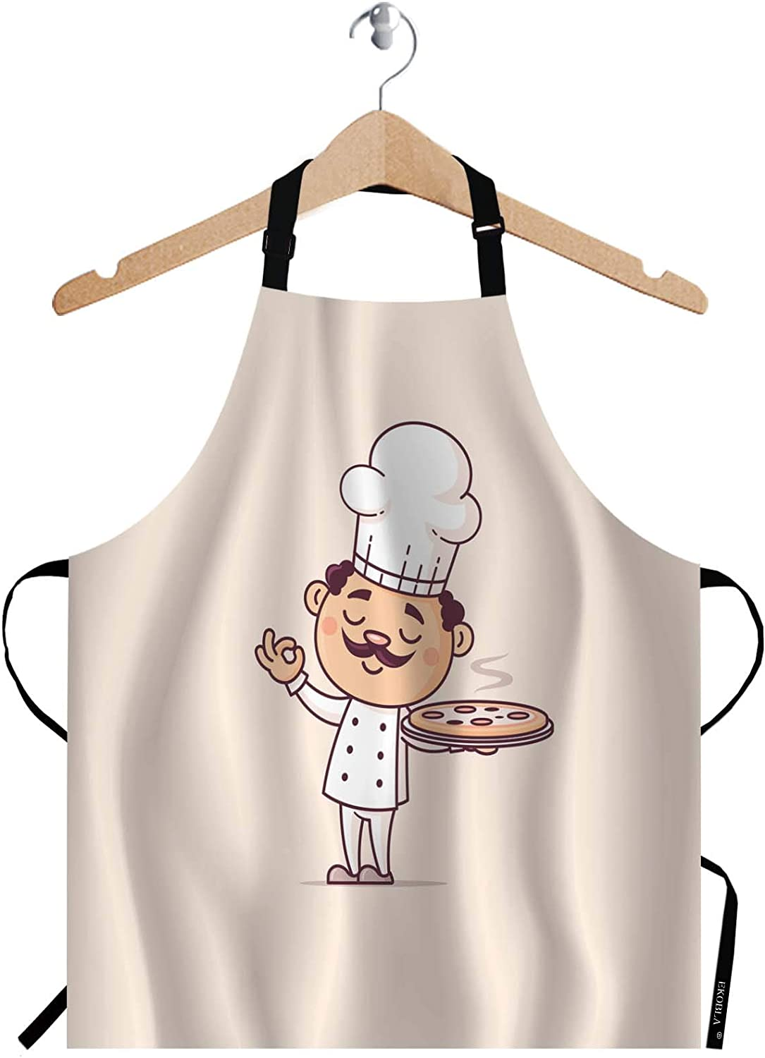 EKOBLA Chef Aprons Hot Pizza Cook Cuisine Cute Fast Food Hat Italian Man Moustache Waterproof Resistant Chef Cooking Kitchen BBQ Adjustable Aprons for Women Men 27x31 Inch