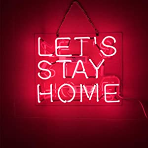 ''Let's Stay Home '' Real Glass Acrylic Panel Handmade Visual Artwork Home Decor Wall Light Real Glass Neon Light Sign Home Beer Bar Pub Recreation Room Lights Windows Wall Signs14''x11.5