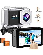 WiMiUS Action Cam, Actioncam 4k WiFi 40M Unterwasserkamera 170 ° Weitwinkel Ultra HD Wasserdichte Sport Camera Helmkamera mit 2 Akkus und Transporttasche
