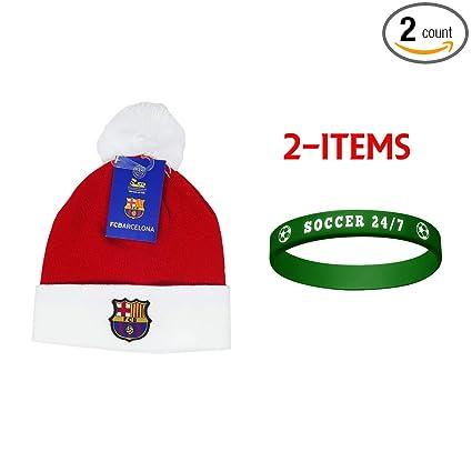 eaaa263098f Amazon.com   FCB Barcelona FC Barcelona Beanie Skull Cap Hat Winter+ Rubber  Bracelet -2 Items FCB03   Sports   Outdoors