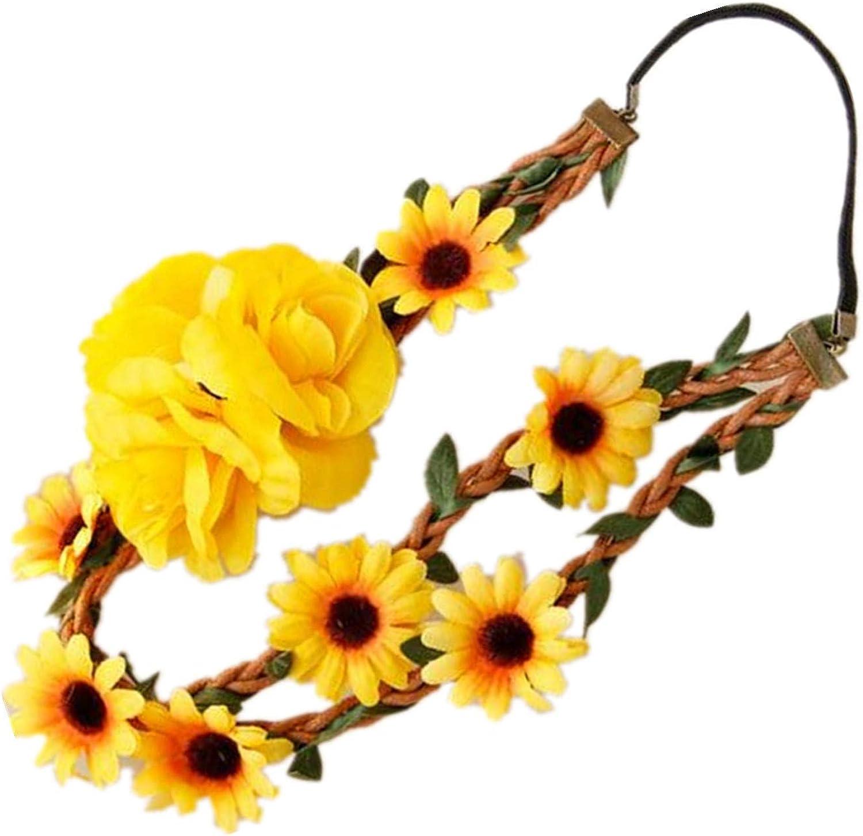 Yellow sunflower flower headband for wedding bridal hair crown headpiece yellow flower girl halo