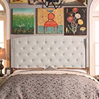 Millbury Home Noblesville Upholstered Wingback Headboard, King, Beige