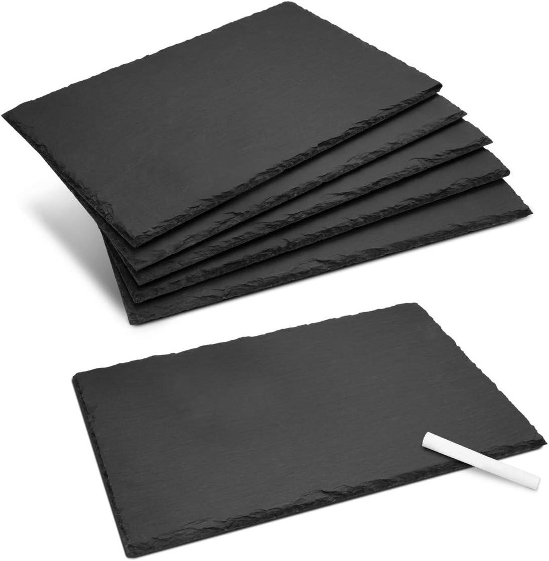 Navaris 6X Plato Llano de Pizarra Natural - Bandejas para Servir Alimentos quesos Aperitivos Tapas Sushi - Tablas rectangulares de Piedra 30 X 20 CM