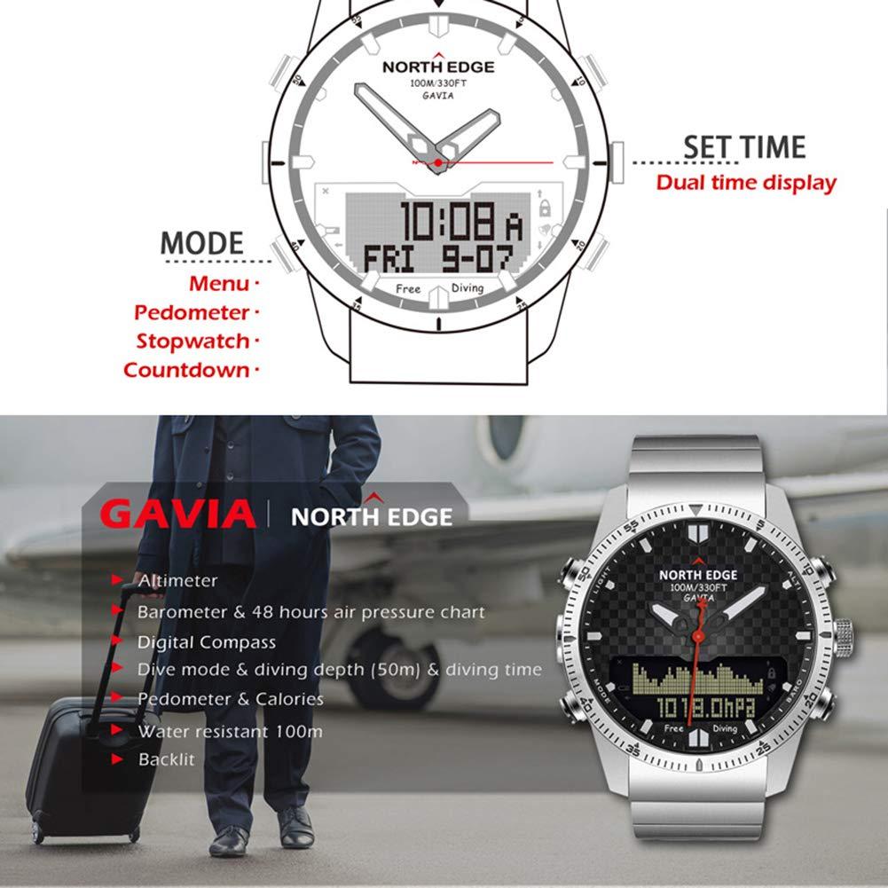 OOLIFENG Reloj Militar Impermeable De 100M, Buceo Relojes Hombres, Altímetro Barómetro Brújula Termómetro Diseño para Deportes Al Aire Libre, Gente Joven: ...