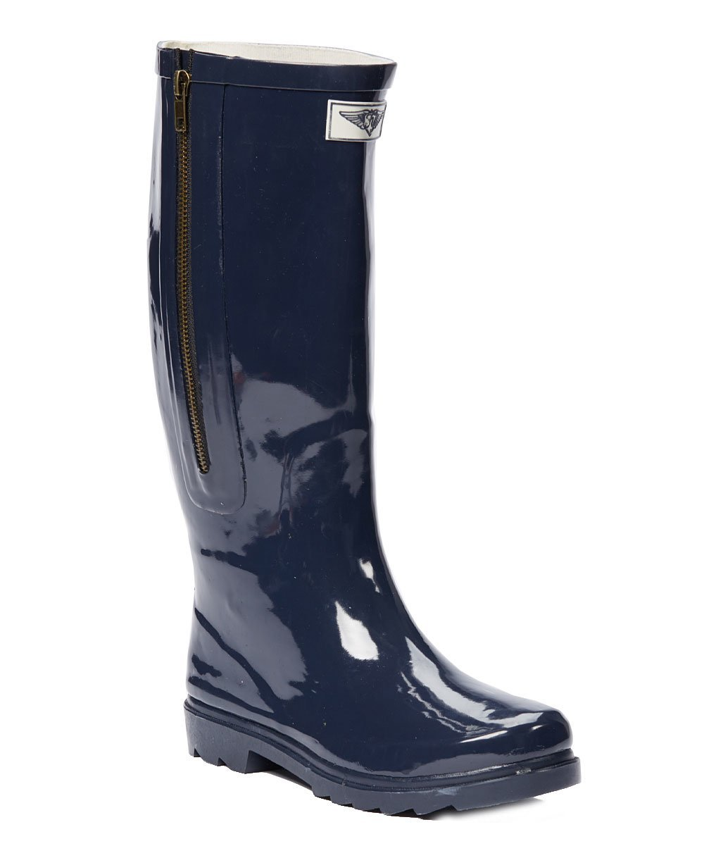 Forever Young Women Navy Rubber Rain Boots w/Side Zipper, 7