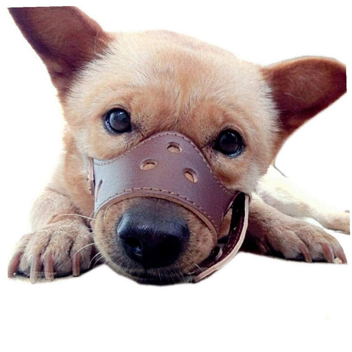 TDlmfRDi Pr/áctica Hocico del Perro De La PU Durable Reemplazo Boca Cubierta Que Aisla De Mascar Bozal para El Animal Dom/éstico Brown S