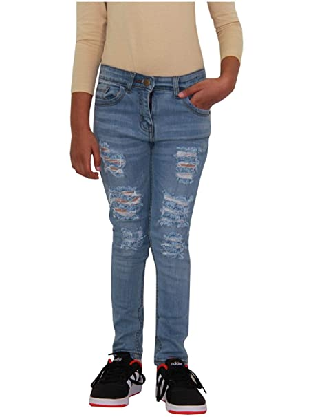 Girls Stretchy Jeans Kids Black Denim Ripped Pants Frayed Trousers Age 5-13 Year