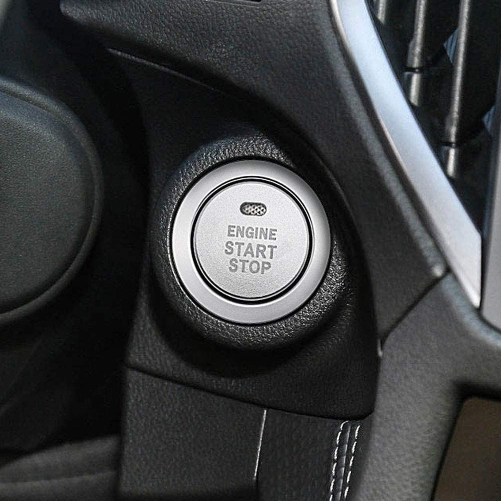Ceyes Silver Engine Start Stop Button Cover Ignition Start Stop Button Trim Ignition Switch Button Sticker Push Button Switch Cover Sticker for Subaru Forester Legacy Impreza Outback Ascent BRZ XV