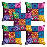 meSleep Multi Color Ethnic Cushion Cover (16x16) - Set of 5