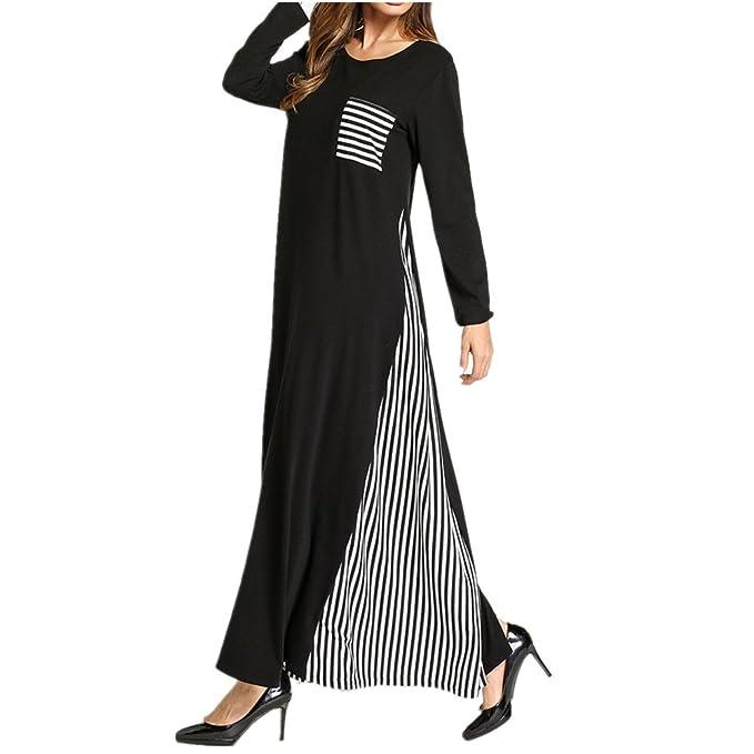 zhbotaolang Vestido Maxi Flojo Musulmán de Las Mujeres, Batas Islámicas Abaya a Rayas con Estilo: Amazon.es: Ropa y accesorios