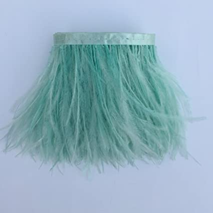 Sowder 5 Yards Turquoise Ostrich Feather Trim Fringe on Satin Header 4-6inch in Width for Wedding Sewing Crafts Costumes Decoration