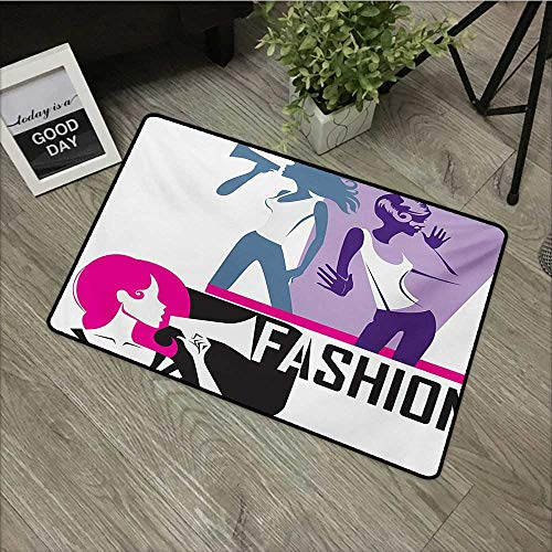 (Anzhutwelve Teen Girls,Floor Rug Carpet Composition of Girls Yelling into Megaphone Modern Stylish Fashion Themed Art W 24