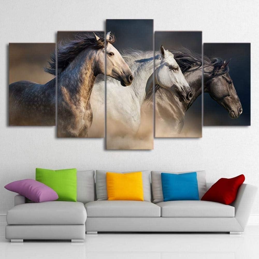 LHMTZ Cinco módulos, pinturas decorativas 200*100CM Animal negro y marrón carreras de caballos Cuadro en Lienzo Impresión de 5 Piezas Material Tejido no Tejido Impresión Artística Imagen Gráfica Decor