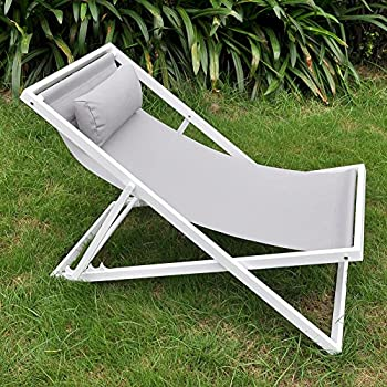 ART TO REAL Beach Folding Chair Headrest, Outdoor Patio Sling Chair,  Lightweight Camping Chaise