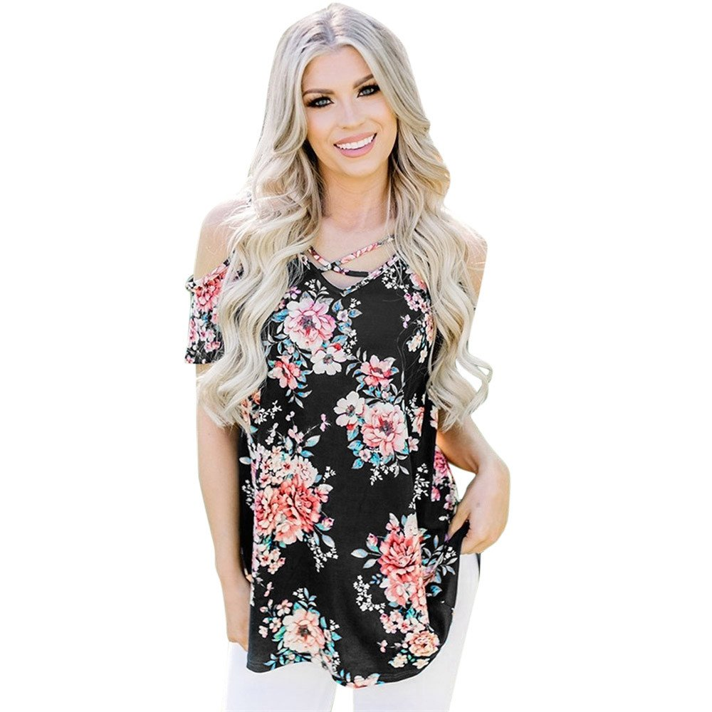 Women's Tops Floral Print Off The Shoulder Short Sleeve Casual V Neck Loose T Shirt (XL, Black)
