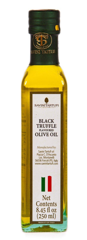 Savini Tartufi Black Truffle Olive Oil, 250ml (8.45oz). Glass Bottle by Savini Tartufi
