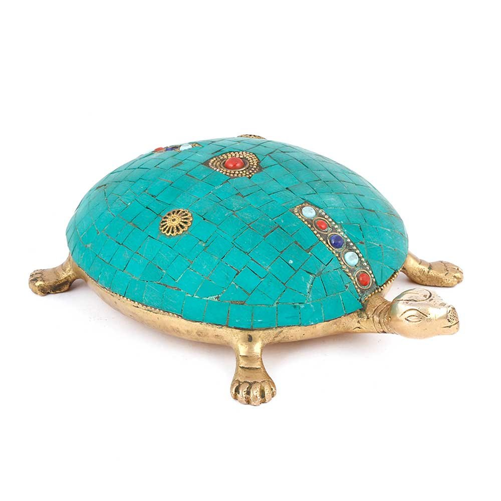 IndianShelf Handmade Decorative Brass Tortoise with Beautiful Stone Work Online