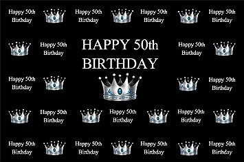 Amazon Com Lfeey 10x8ft Happy 50th Birthday Backdrop Silver
