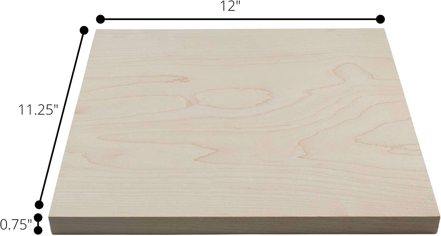 Solid - Finished on Four Sides 12 in x 11.25 in x 0.75 in S4S Maple Lumber Board USA Source Great for Small Home Projects and Renovation Hardwood Actual Size
