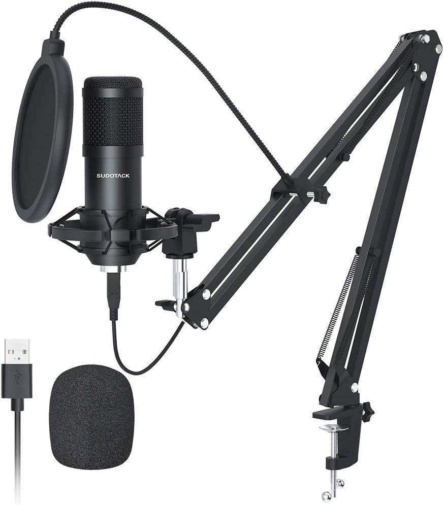 USB Streaming Podcast PC Micrófono,SUDOTACK Profesional 192KHZ/24Bit Estudio Cardioide Condensador Mic Kit con Tarjeta de Sonido Brazo Choque Soporte Pop Filtro,para Skype YouTuber Grabación de juegos