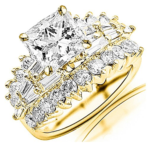 14K Yellow Gold 5.15 CTW Exquisite Prong Set Bageutte And Round Diamond Engagement Ring w/ 3 Ct GIA Certified Princess Cut E Color VS1 Clarity Center