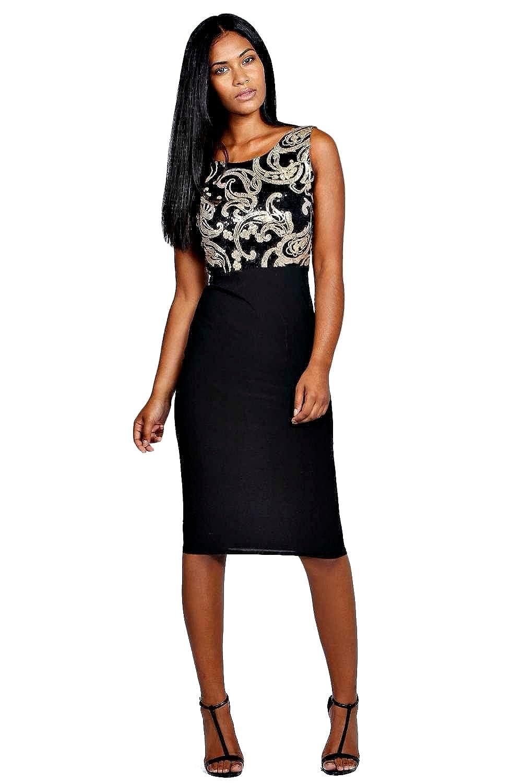 Black Womens Lucy Sequin Top Bodycon Midi Dress