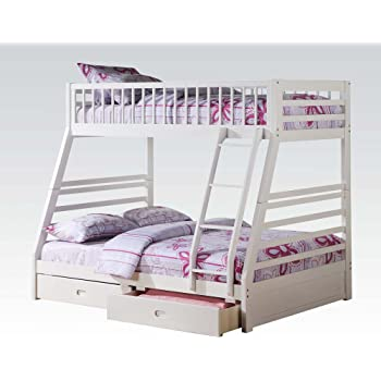 Amazon Com New White Pine Wood Twin Over Full Bunk Bed