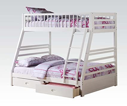 Amazon Com New White Pine Wood Twin Over Full Bunk Bed With 2