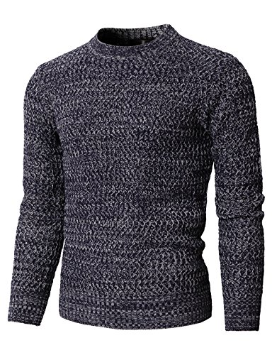H2H Mens Fashion Round Neck Twisted Knitted Pullover Sweater Navy US M/Asia L ()