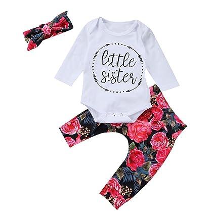 M&A Peleles Niña Bebé Flores 3 piezas Tocado+Camiseta+Pantalones Manga Largo Para Otoño