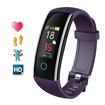 Pulsera de Actividad Inteligente Relojes Deportes con Pulsómetro Pulseras Actividad Deportiva Impermeable IP68 Pantalla a Color Monitor Cardiaco Reloj ...